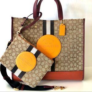 Coach Dempsey Tote Orange Large Purse Wallet Set